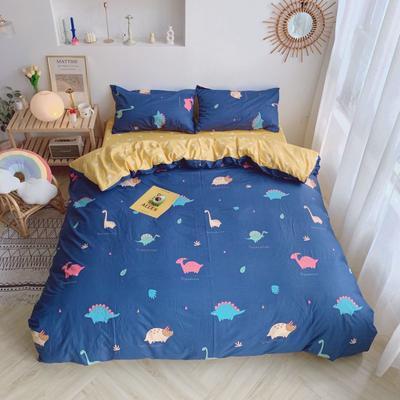 2019新款13070(40支)纯棉套件四件套 1.2m(4英尺)床(三件套) 小恐龙