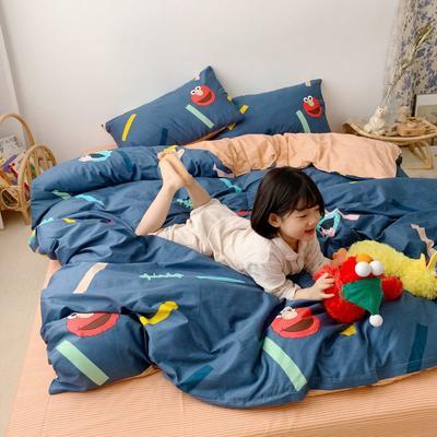 2019新款13070(40支)纯棉套件最新微信发红包群号 1.2m(4英尺)床(三件套) 芝麻街蓝