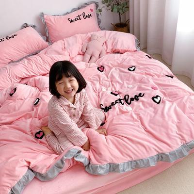 2019新款ins宝宝绒套件(实拍图) 1.8m(6英尺)床 爱心豹纹粉
