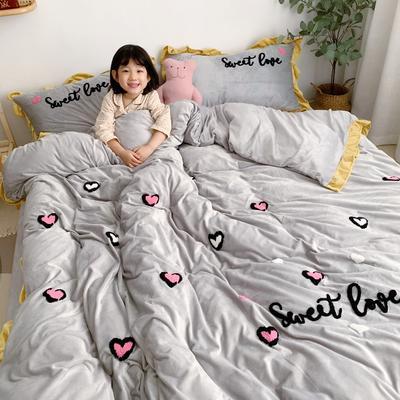 2019新款ins宝宝绒套件(实拍图) 1.5m(5英尺)床 爱心豹纹灰