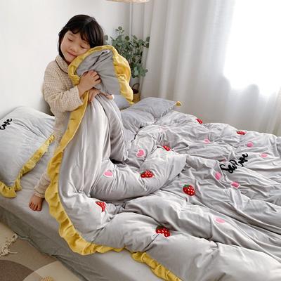 2019新款ins宝宝绒套件(实拍图) 1.8m(6英尺)床 草莓灰