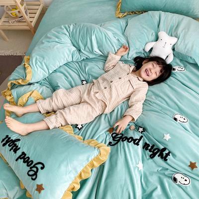 2019新款ins宝宝绒套件(实拍图) 1.5m(5英尺)床 史努比豆绿