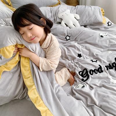 2019新款ins宝宝绒套件(实拍图) 1.5m(5英尺)床 史努比灰