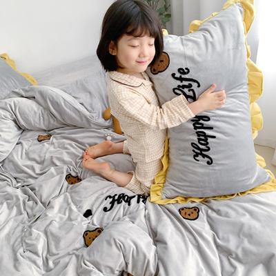 2019新款ins宝宝绒套件(实拍图) 1.8m(6英尺)床 泰迪熊灰