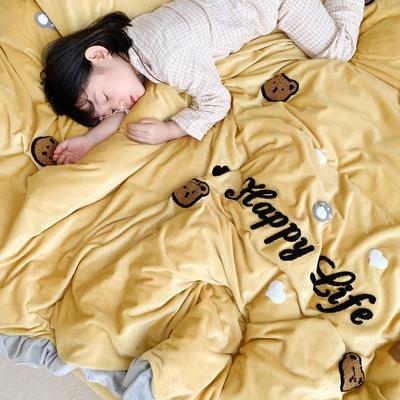 2019新款ins宝宝绒套件(实拍图) 1.8m(6英尺)床 泰迪熊姜黄