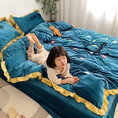 2019新款ins宝宝绒套件(实拍图) 1.8m(6英尺)床 泫雅花祖母绿
