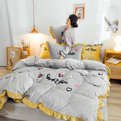2019新款ins宝宝绒套件(棚拍图) 1.8m(6英尺)床 爱心豹纹灰
