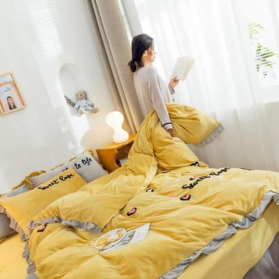 2019新款ins宝宝绒套件(棚拍图) 1.8m(6英尺)床 爱心豹纹姜黄