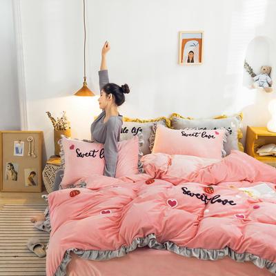 2019新款ins宝宝绒套件(棚拍图) 1.5m(5英尺)床 草莓粉
