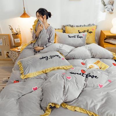 2019新款ins宝宝绒套件(棚拍图) 1.8m(6英尺)床 草莓灰