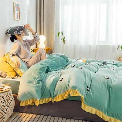 2019新款ins宝宝绒套件(棚拍图) 1.8m(6英尺)床 史努比豆绿
