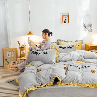 2019新款ins宝宝绒套件(棚拍图) 1.5m(5英尺)床 泰迪熊灰