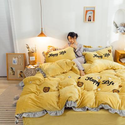 2019新款ins宝宝绒套件(棚拍图) 1.8m(6英尺)床 泰迪熊姜黄