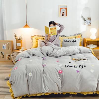 2019新款ins宝宝绒套件(棚拍图) 1.5m(5英尺)床 泫雅花灰