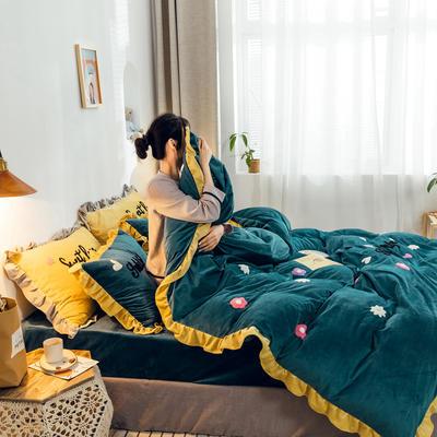 2019新款ins宝宝绒套件(棚拍图) 1.8m(6英尺)床 泫雅花祖母绿