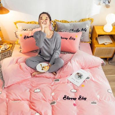 2019新款ins宝宝绒套件(棚拍图) 1.5m(5英尺)床 云朵粉