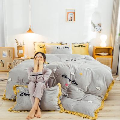 2019新款ins宝宝绒套件(棚拍图) 1.5m(5英尺)床 云朵灰
