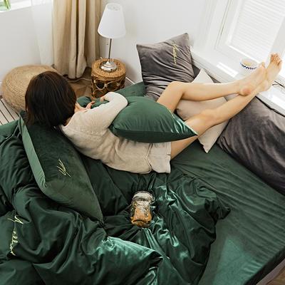2019新款玻尿酸丽丝绒四件套 1.8m(6英尺)床 墨绿