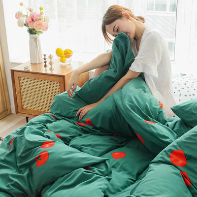 2019新款玻尿酸针织棉套件 1.5m-1.8m床单款 番茄