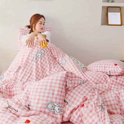 2019新款玻尿酸针织棉套件 1.2m床单款三件套 格子玩偶