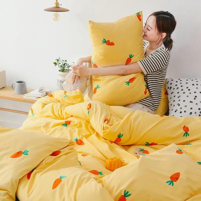 2019新款玻尿酸针织棉套件 1.5m-1.8m床单款 胡萝卜