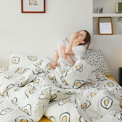 2019新款玻尿酸针织棉套件 1.2m床单款三件套 鸡蛋花