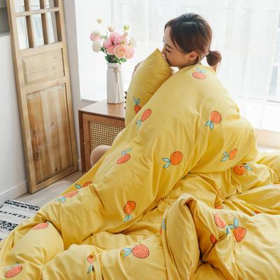 2019新款玻尿酸针织棉套件 1.2m床单款三件套 橘子