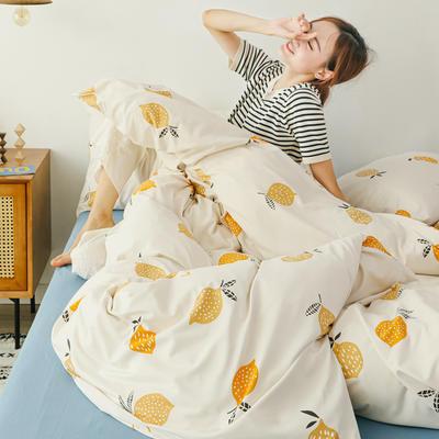 2019新款玻尿酸针织棉套件 1.5m-1.8m床单款 柠檬