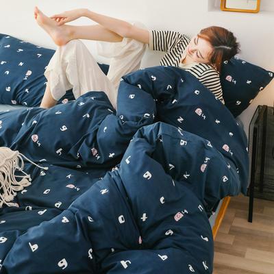 2019新款玻尿酸针织棉套件 1.5m-1.8m床单款 趣味字母