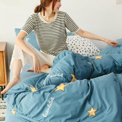 2019新款玻尿酸针织棉套件 1.2m床单款三件套 五角星