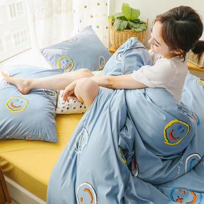 2019新款玻尿酸针织棉套件 1.5m-1.8m床单款 笑脸