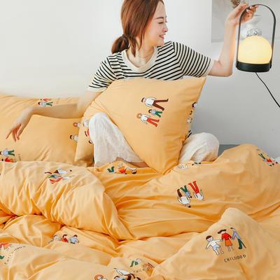 2019新款玻尿酸针织棉套件 1.5m-1.8m床单款 亲子时光