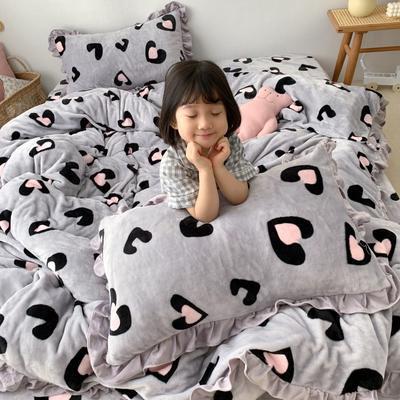 2019新款Chic少女花边牛奶绒套件-实拍图 1.8m床单款 灰豹纹