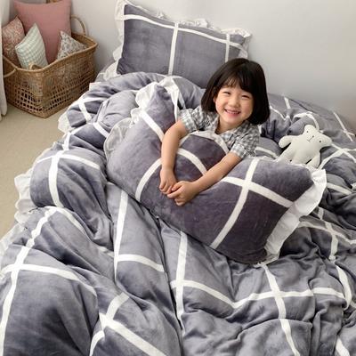 2019新款Chic少女花边牛奶绒套件-实拍图 1.8m床单款 灰大格