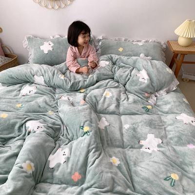 2019新款Chic少女花边牛奶绒套件-实拍图 1.5m床单款 绿底小熊