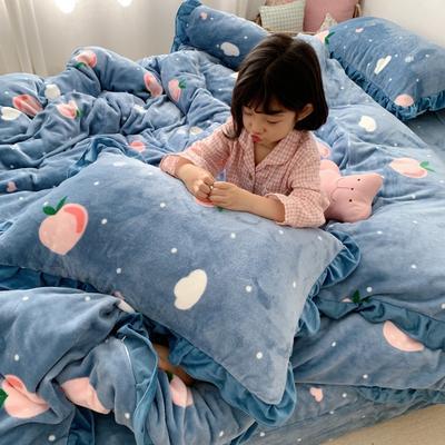 2019新款Chic少女花边牛奶绒套件-实拍图 1.5m床单款 蜜桃