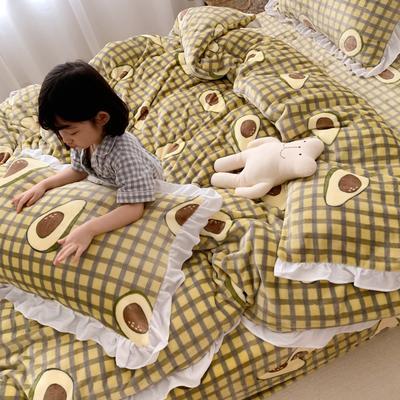 2019新款Chic少女花边牛奶绒套件-实拍图 1.2m床单款三件套 牛油果