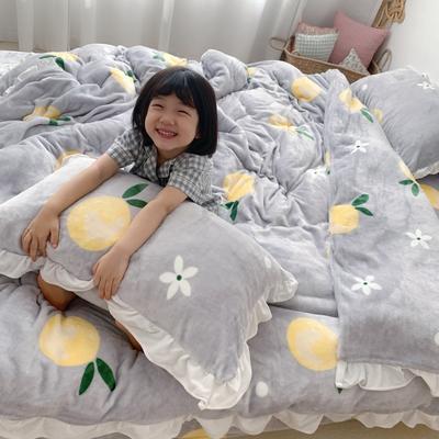 2019新款Chic少女花边牛奶绒套件-实拍图 1.5m床单款 清新橘子