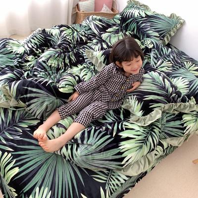 2019新款Chic少女花边牛奶绒套件-实拍图 1.5m床单款 热带雨林