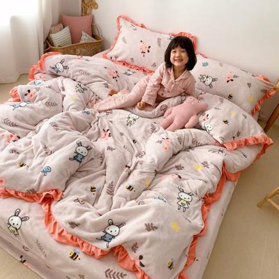 2019新款Chic少女花边牛奶绒套件-实拍图 1.5m床单款 森林兔