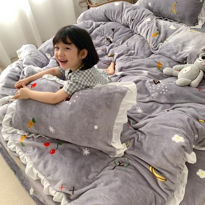 2019新款Chic少女花边牛奶绒套件-实拍图 1.5m床单款 水果屋