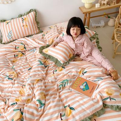 2019新款Chic少女花边牛奶绒套件-实拍图 1.5m床单款 条纹枇杷