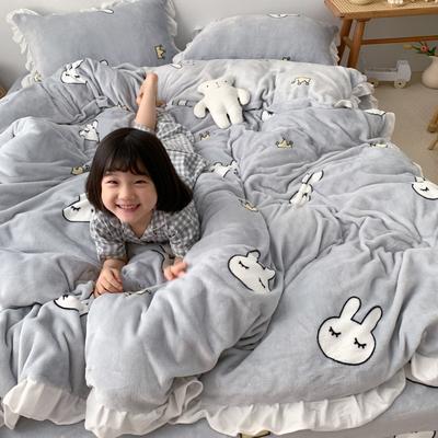 2019新款Chic少女花边牛奶绒套件-实拍图 1.5m床单款 兔子皇冠