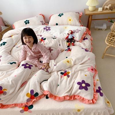 2019新款Chic少女花边牛奶绒套件-实拍图 1.5m床单款 泫雅花