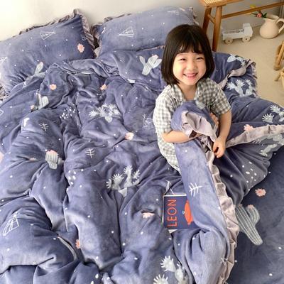 2019新款Chic少女花边牛奶绒套件-实拍图 1.5m床单款 雪花仙人掌