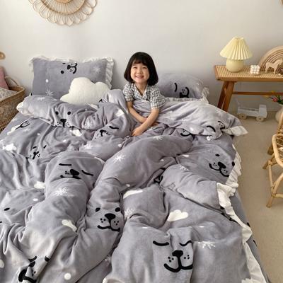 2019新款Chic少女花边牛奶绒套件-实拍图 1.5m床单款 雪花小熊