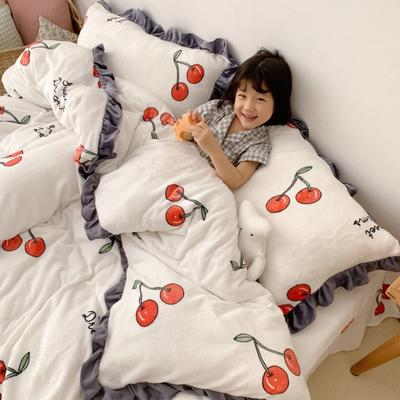 2019新款Chic少女花边牛奶绒套件-实拍图 1.5m床单款 樱桃