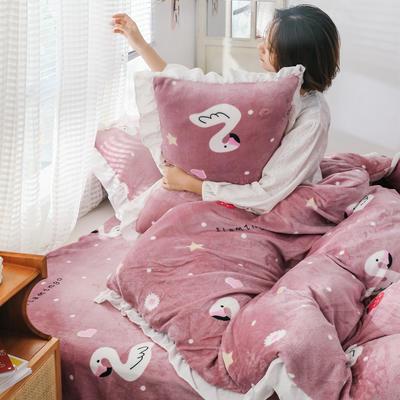 2019新款Chic少女花边牛奶绒套件-影棚图 1.8m床单款 草莓火鸟