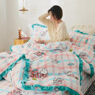 2019新款Chic少女花边牛奶绒套件-影棚图 1.8m床单款 二次元小熊