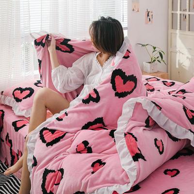 2019新款Chic少女花边牛奶绒套件-影棚图 1.8m床单款 粉豹纹